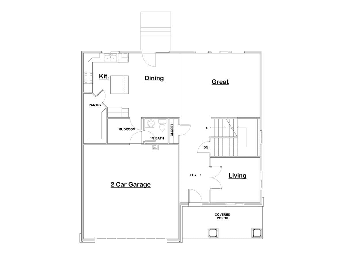 Basin walker home design for Open concept craftsman house plans
