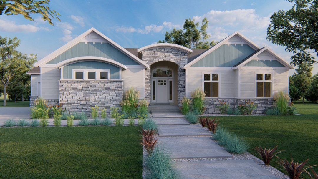 arbor wood modern craftsman house plan 3d rendering
