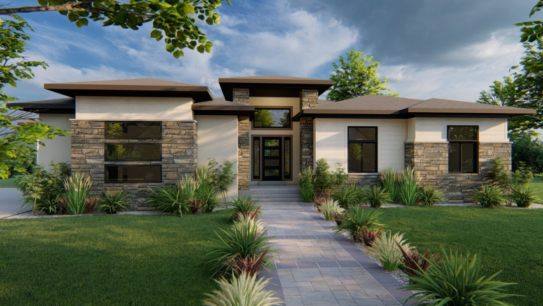 arbor wood prairie house plan 3d rendering