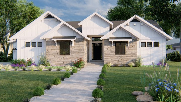 auburn modern farmhouse house plan 3d rendering