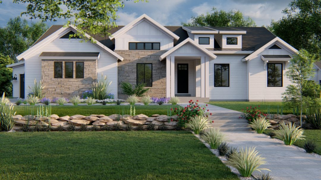 beacon hill modern farmhouse house plan 3d rendering