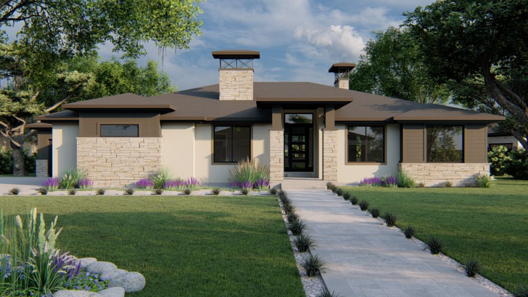 beacon hill prairie house plan 3d rendering