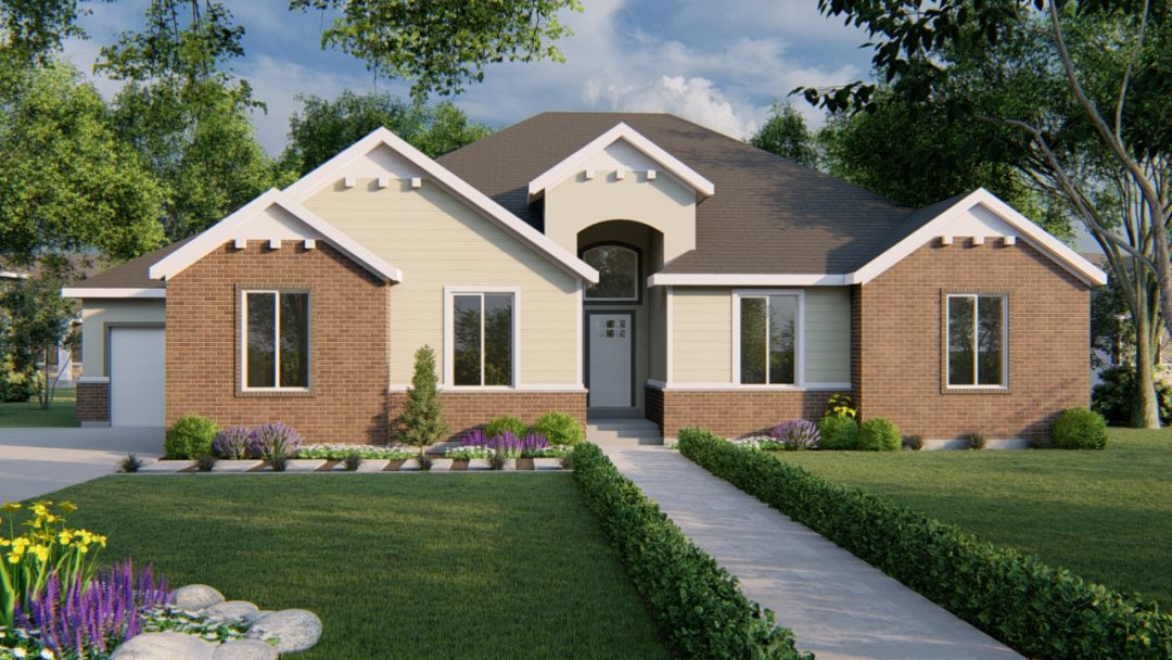 highline traditional house plan 3d rendering