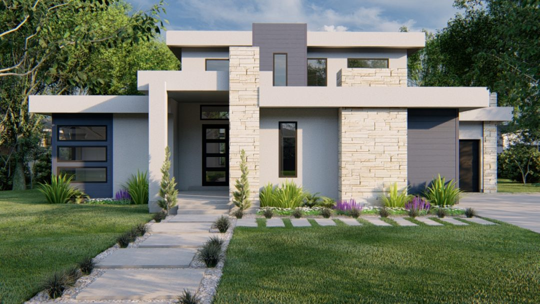 winchester contemporary house plan 3d rendering