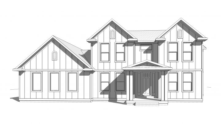 oak hills house plan 3d rendering